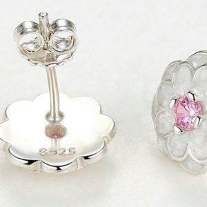 Gem Emporium Accessories - Spring White & Pink Flower sterling Stud earrings